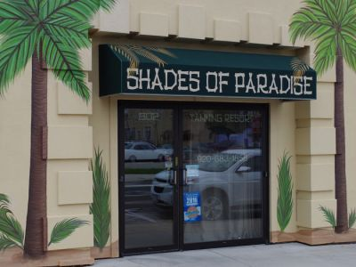 awning with painted graphics