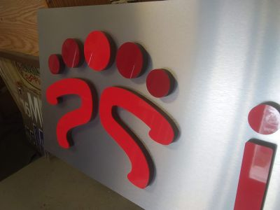 laminate on foam letters closeup